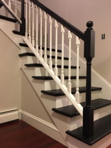 Interior, banisters, staircase in Williston, Vermont