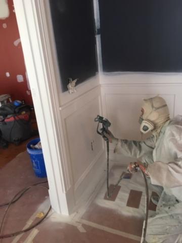 Spraying interior in Williston, Vermont