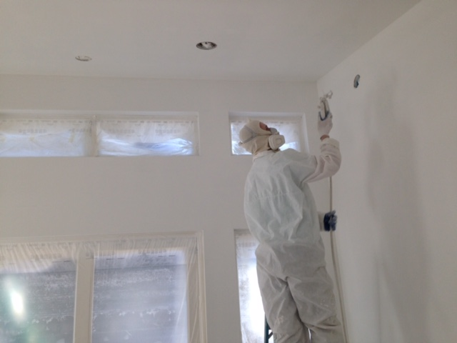 Spraying new construction in South Hero,Vermont